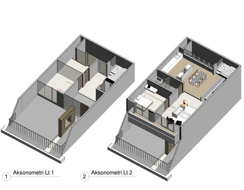 Studio Rtm Wn-House Muara Karang - Jakarta Muara Karang - Jakarta Aksonometri-Lt1-Lt2 Kontemporer,modern,industrial 3825
