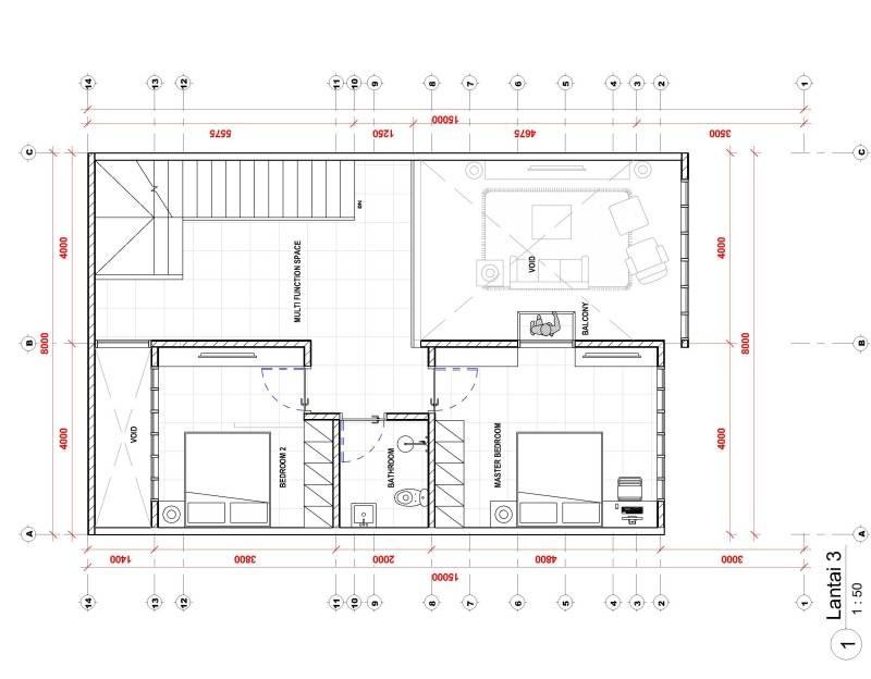 Studio Rtm Wn-House Muara Karang - Jakarta Muara Karang - Jakarta Denah-Lantai-3 Kontemporer,modern,industrial 3828