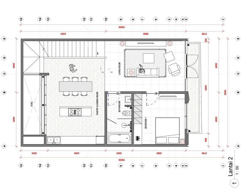 Studio Rtm Wn-House Muara Karang - Jakarta Muara Karang - Jakarta Denah-Lantai-2 Kontemporer,modern,industrial 3829