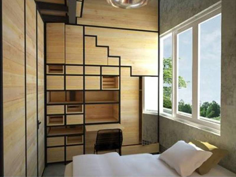 Foto inspirasi ide desain kamar tidur industrial Rencana-tahap-2-bedroom-racks oleh AKANOMA YU SING di Arsitag