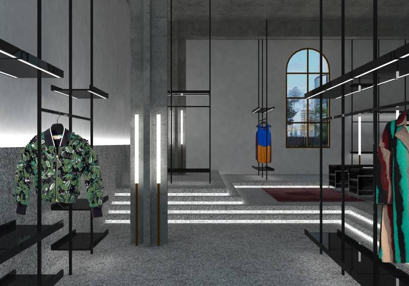 Doppia E Ff Concept Store Jakarta Jakarta Clothes Display Industrial 4164
