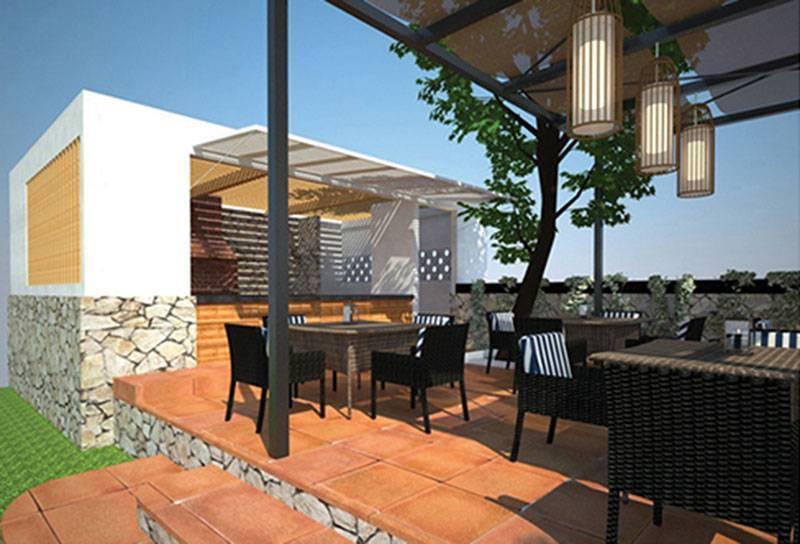 Foto inspirasi ide desain atap tropis Restaurant-2 oleh Farissa Achmadi di Arsitag
