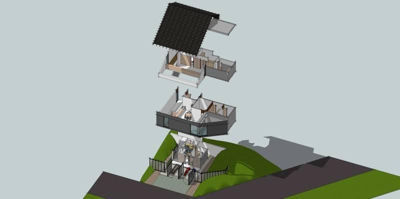 Monokroma Architect Cinere House Jakarta Jakarta Axonometric Diagram Modern 846