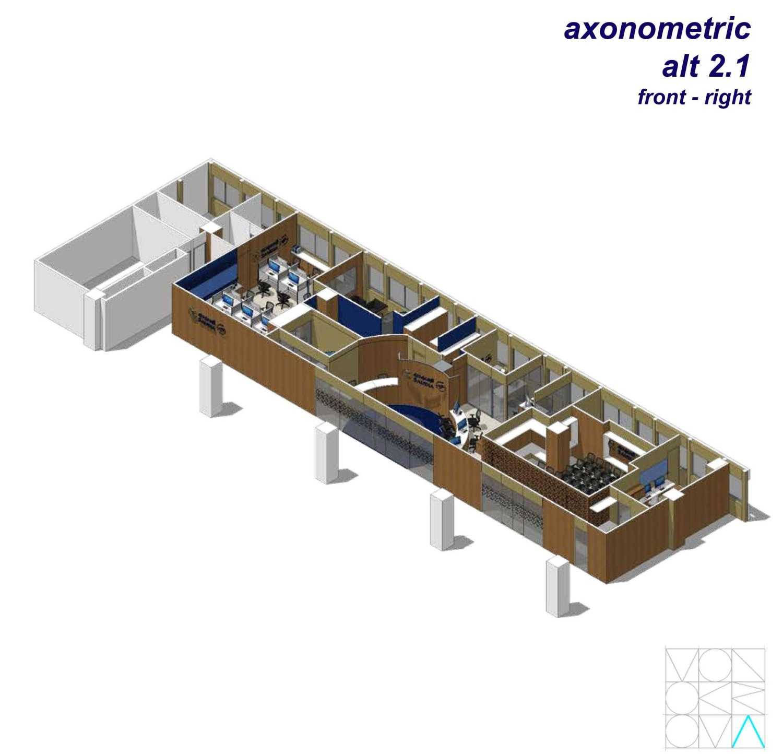 Monokroma Architect Saudi Arabian Airlines Office Soekarno Hatta Airport Terminal 3 Soekarno Hatta Airport Terminal 3 Axonometric-Alternative-2-1-Front-Right Modern 14735