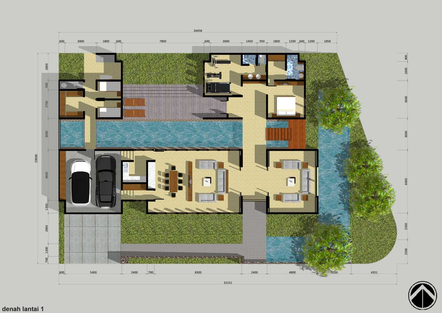 Monokroma Architect Puri Indah House Jakarta Jakarta 1-Draft-1-Ground-Floor-Plan  15127