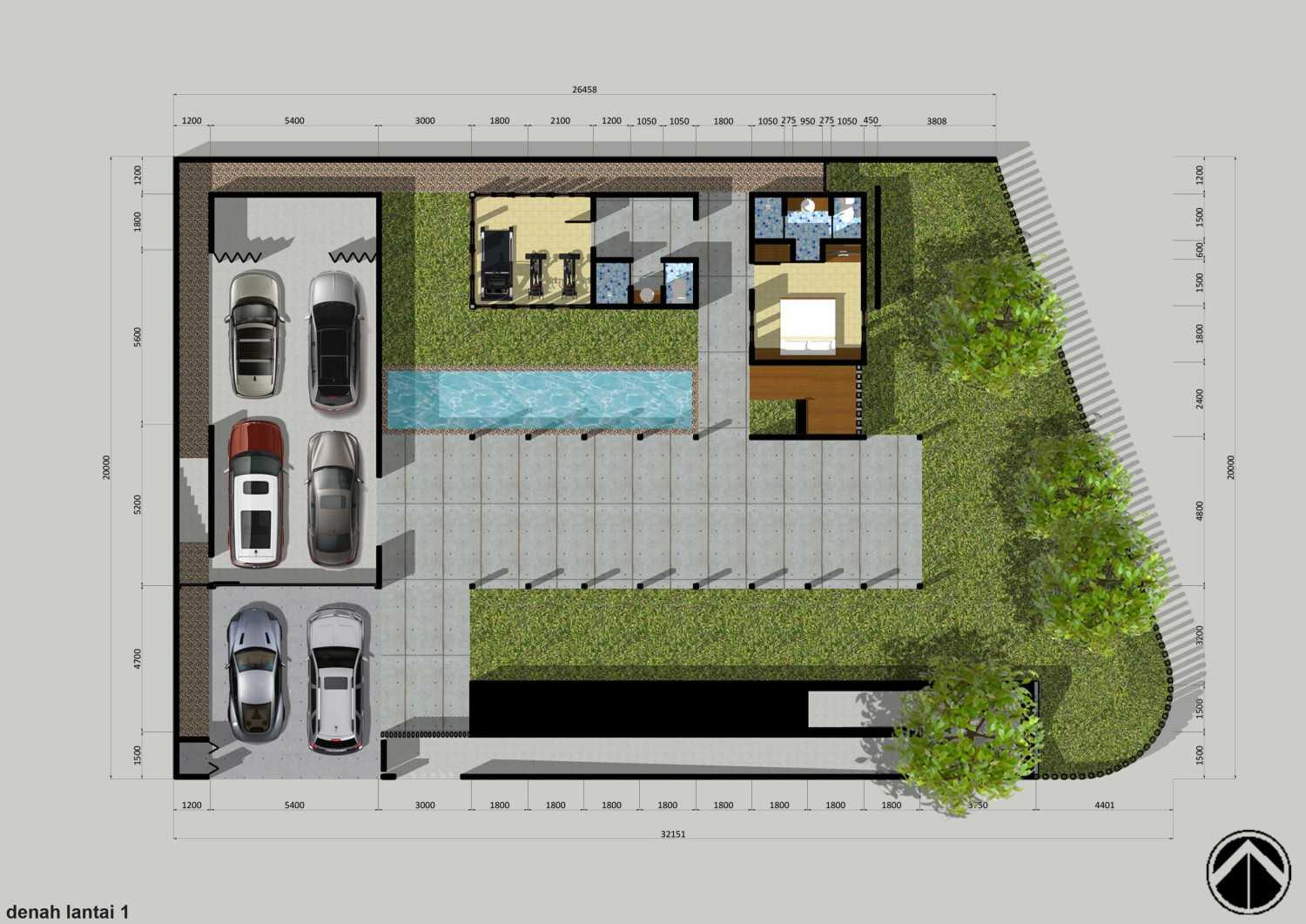 Monokroma Architect Puri Indah House Jakarta Jakarta 11-Draft-2-Ground-Floor-Plan  15137