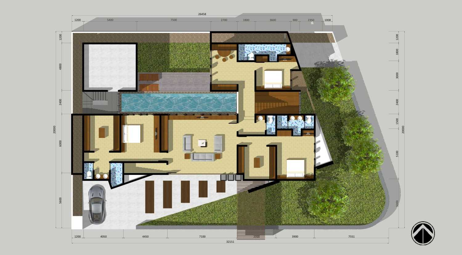 Monokroma Architect Puri Indah House Jakarta Jakarta 24-Final-1St-Floor-Plan  15150
