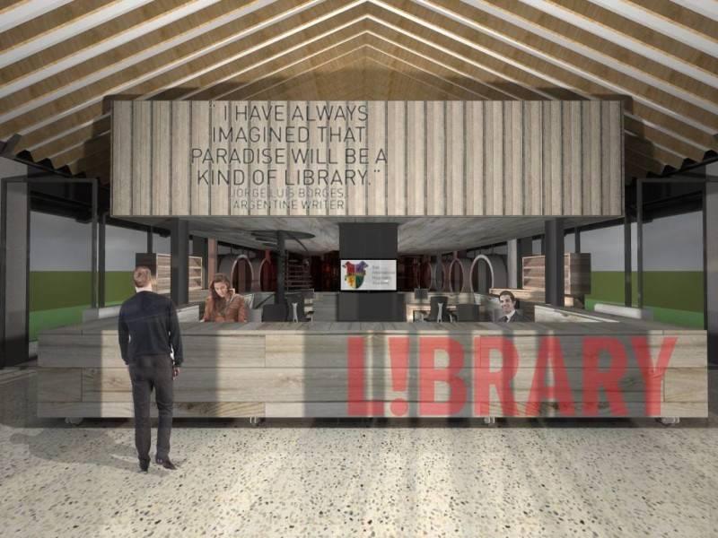 Foto inspirasi ide desain perpustakaan industrial Library oleh Monokroma Architect di Arsitag