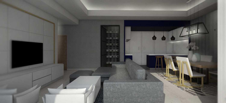 E.d.n.a.m.u Hi-End Apartment Interior At Gandaria South Gandaria, Cilandak, South Jakarta City, Jakarta, Indonesia Gandaria, Jakarta Selatan Kitchen, Dining And Tv Area Combined  15889