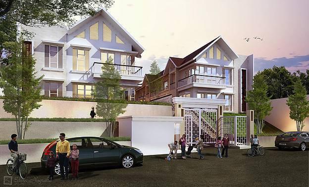 Foto inspirasi ide desain pintu masuk tropis Facade-view oleh ED Architect di Arsitag