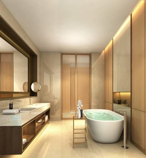 Foto inspirasi ide desain kamar mandi modern Master bathroom apartment oleh Rieska Achmad di Arsitag