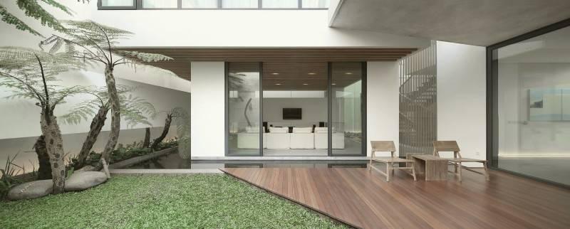 Foto inspirasi ide desain tangga minimalis Courtyard oleh Antony Liu + Ferry Ridwan / Studio TonTon di Arsitag