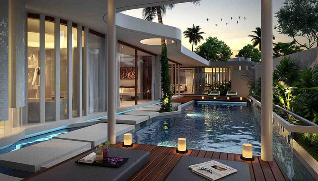Foto inspirasi ide desain kolam tropis Swimmming pool oleh IMAGO DESIGN STUDIO di Arsitag