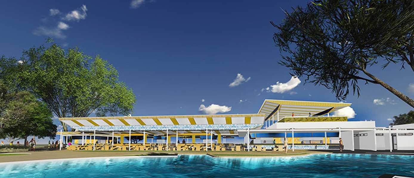 Foto inspirasi ide desain restoran modern Swimming pool oleh IMAGO DESIGN STUDIO di Arsitag