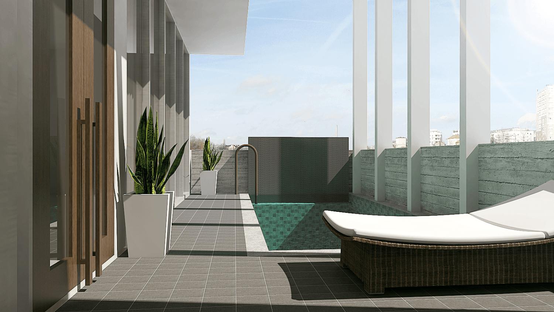 Pt. Indodesign Kreasi Mandiri Menteng Town House Jakarta, Indonesia Jakarta, Indonesia Swimming-Pool-At-2Nd-Floor Kontemporer 8672