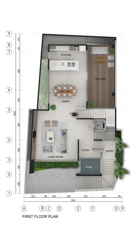 Pt. Indodesign Kreasi Mandiri Menteng Town House Jakarta, Indonesia Jakarta, Indonesia First-Floor-Plan Kontemporer 8678