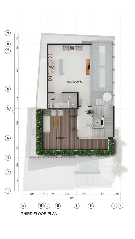 Pt. Indodesign Kreasi Mandiri Menteng Town House Jakarta, Indonesia Jakarta, Indonesia Third-Floor-Plan Kontemporer 8680