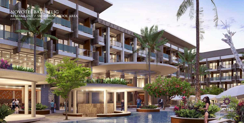 Foto inspirasi ide desain kolam kontemporer Restaurant-swimming-pool-area oleh SOTJA Interiors di Arsitag