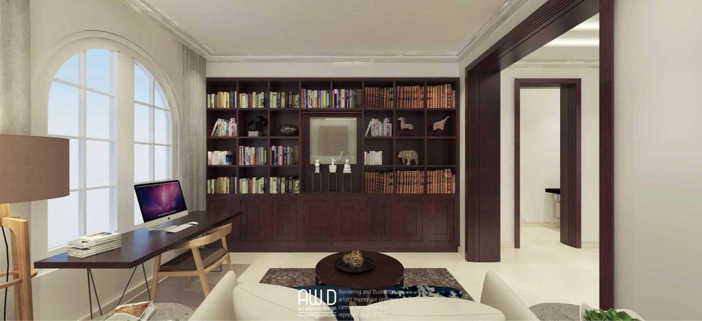 Foto inspirasi ide desain perpustakaan modern Workspace and library oleh ari wibowo design (AW.D) di Arsitag