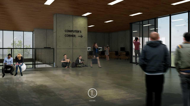 Foto inspirasi ide desain perpustakaan modern Computers-corner-render oleh Localic Studio di Arsitag