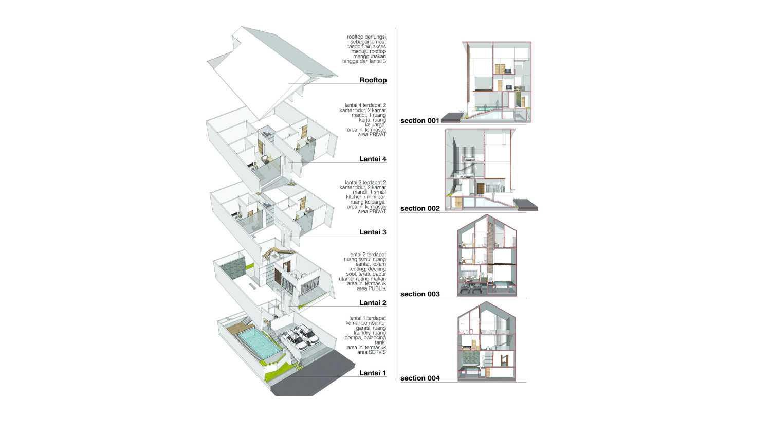 P+Us Architects Studio Omah Ijo Village Condongcatur, Depok Sub-District, Sleman Regency, Special Region Of Yogyakarta, Indonesia Yogyakarta, Indonesia Isometric Floorplan & Section  16983