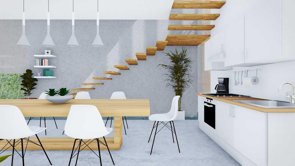 Foto inspirasi ide desain ruang makan skandinavia Dining and kitchen area oleh DFORM di Arsitag