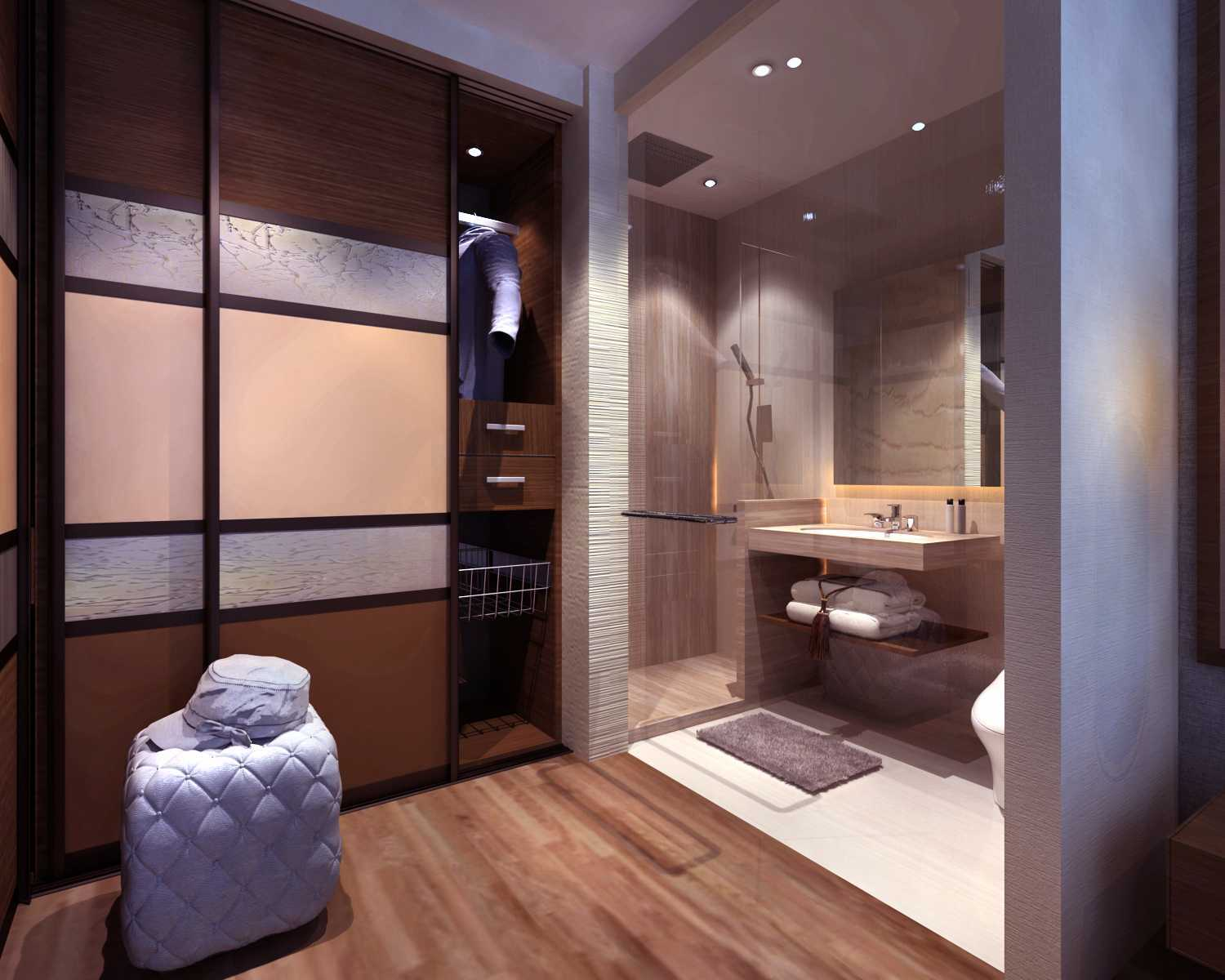 Rinto Katili Industrial Style Apartment Jakarta Jakarta Walking-Closet-And-Master-Bathroom Industrial 32501