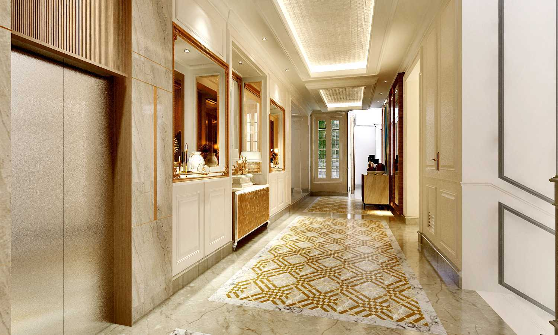 Foto inspirasi ide desain koridor dan lorong kontemporer Lift area to dining area oleh Rinto Katili, S.s.n, M.M di Arsitag