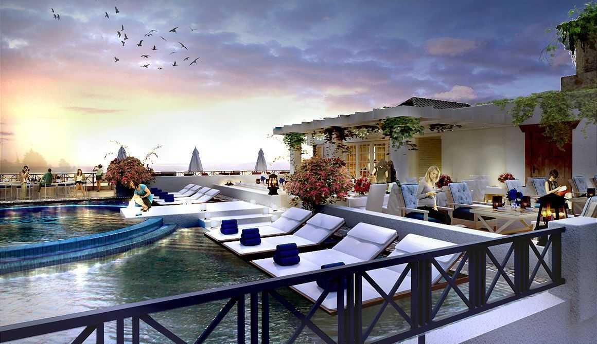 Foto inspirasi ide desain atap kontemporer Rooftop-bar-view-1 oleh Rinto Katili di Arsitag