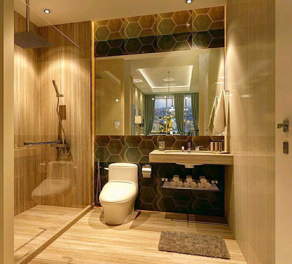 Foto inspirasi ide desain kamar mandi minimalis Guest-bathroom-apartment-modern-luxuries oleh Rinto Katili di Arsitag