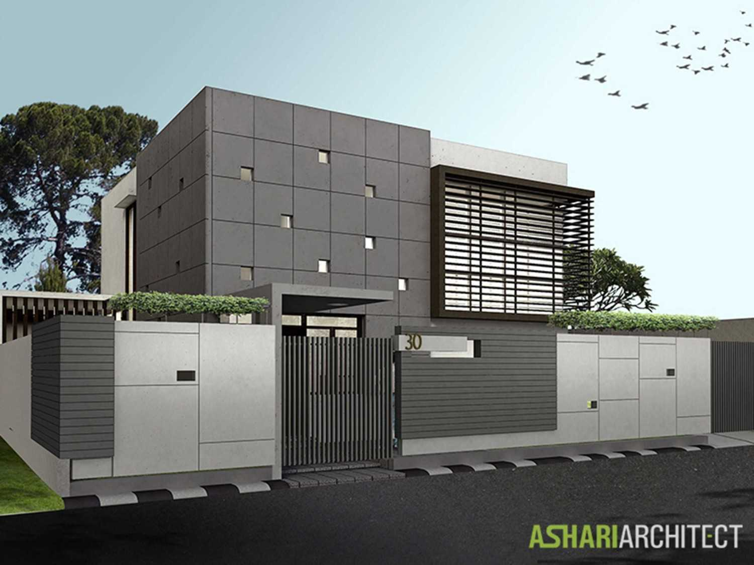 Ashari Architects Palembang House Palembang, Indonesia Palembang, Indonesia Render-Front-View Kontemporer 11870
