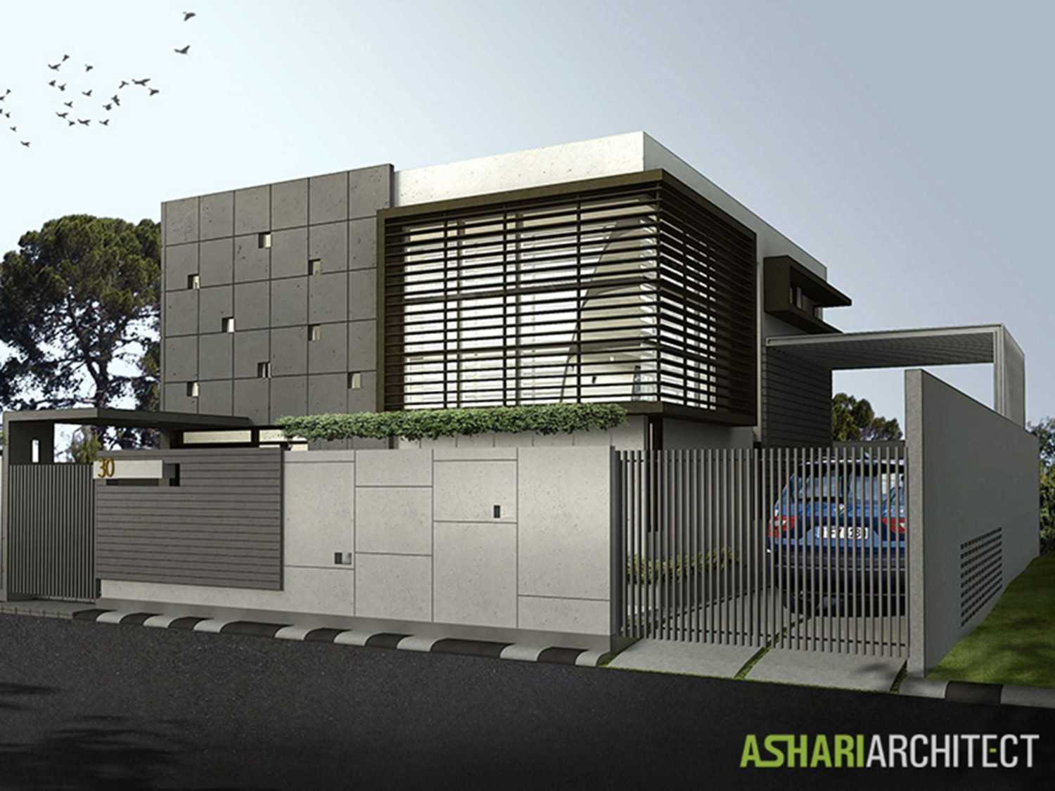 Ashari Architects Palembang House Palembang, Indonesia Palembang, Indonesia Render-Front-View Kontemporer 11871