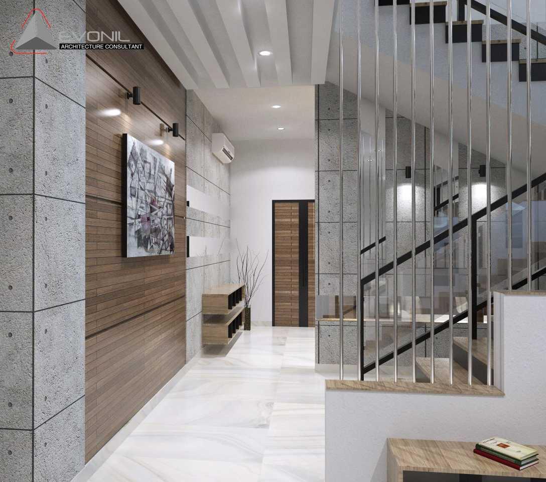 Foto inspirasi ide desain koridor dan lorong asian Dinding-koridor-pintu-utama oleh Evonil Architecture di Arsitag