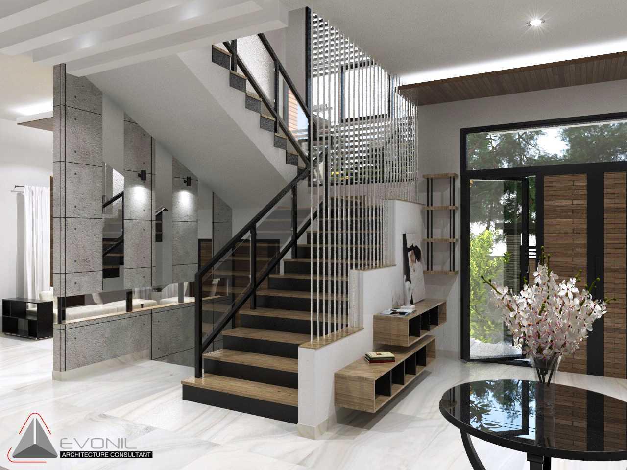 Foto inspirasi ide desain tangga asian Tangga-utama-rev oleh Evonil Architecture di Arsitag