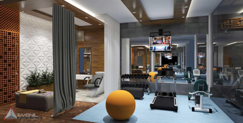 Foto inspirasi ide desain gym kontemporer Ruang-gym-dan-salon-view1-rev oleh Evonil Architecture di Arsitag