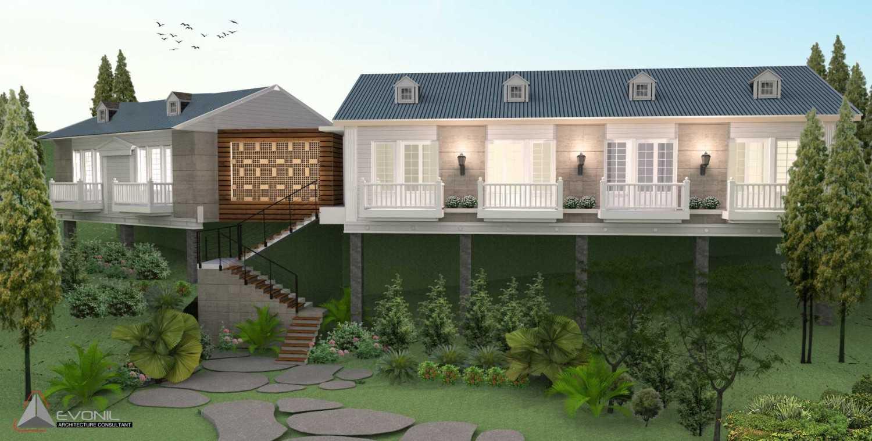 Foto inspirasi ide desain exterior klasik Tampak-depan-rumah-tamu-2-villa-bogor oleh EVONIL Architecture di Arsitag