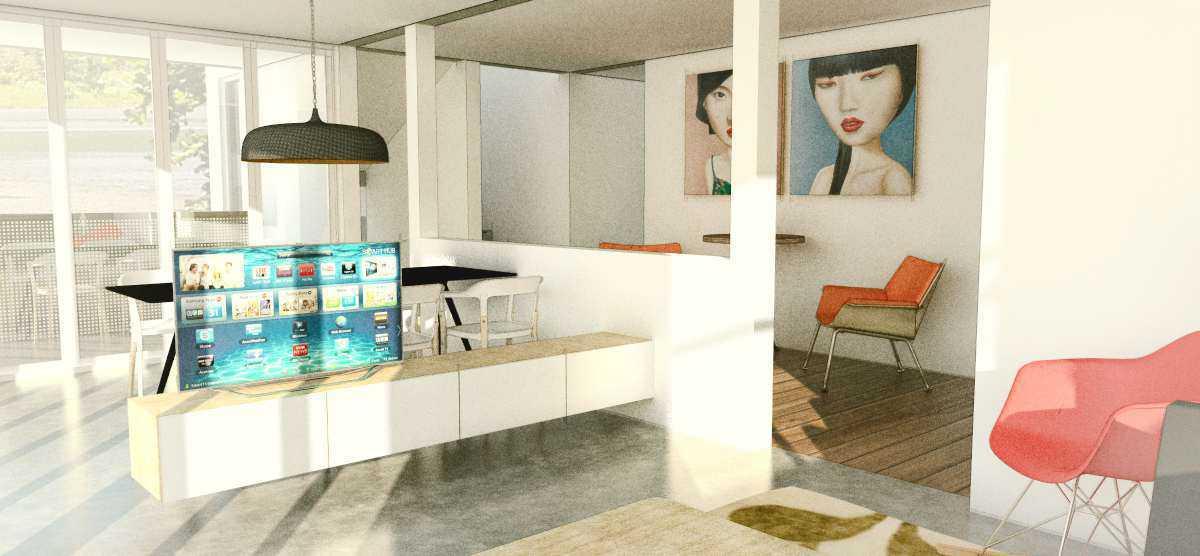 Foto inspirasi ide desain ruang keluarga modern Livingroom oleh arkitekt.id di Arsitag