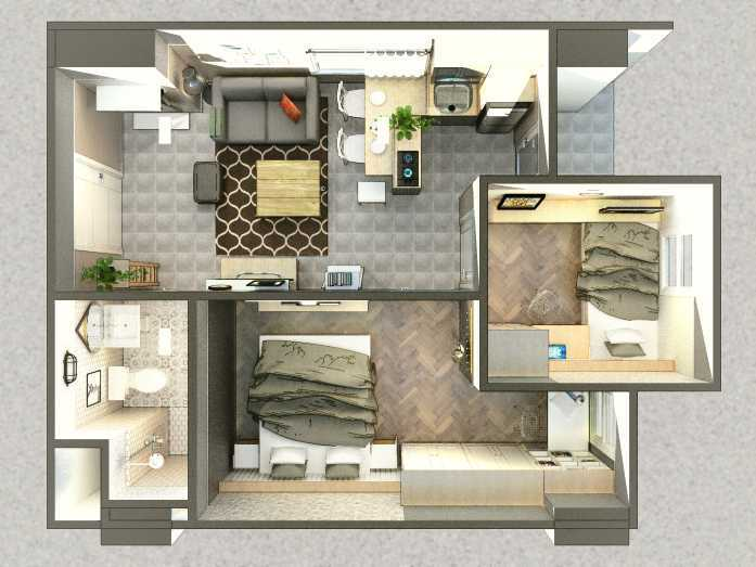 Arkitekt.id Corner Unit Apartment Parahyangan Residence, Bandung Parahyangan Residence, Bandung Floor Plan Industrial 29168