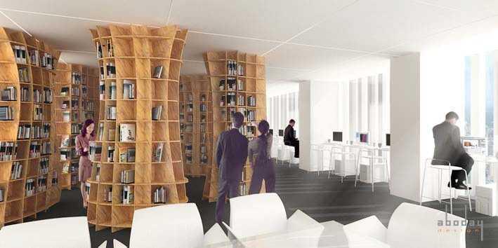 Foto inspirasi ide desain perpustakaan Library-area oleh Aboday Architect di Arsitag