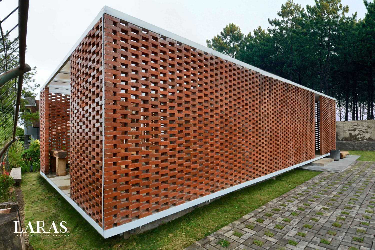 Eben White Perforated Brick House Bandung Bandung Corner View Modern,tropis 29657