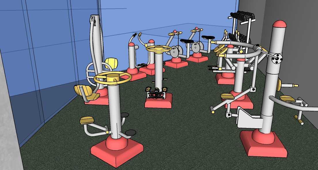 Foto inspirasi ide desain gym modern Gym-bag-view-2 oleh Afina Rahmani di Arsitag