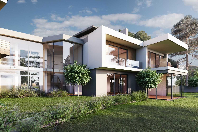 Foto inspirasi ide desain rumah kontemporer Tampak belakang oleh JR Design di Arsitag