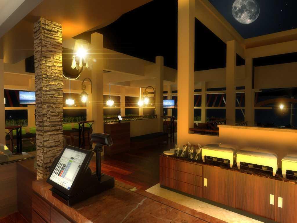 Foto inspirasi ide desain restoran tropis Cashier view oleh Triasteri Interior and Design di Arsitag