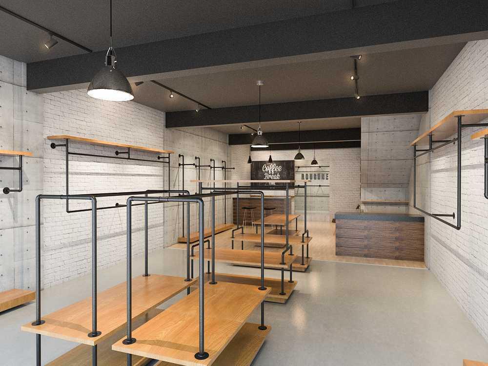 Foto inspirasi ide desain display area industrial Store interior oleh Archipelago Interior Design & Construction di Arsitag