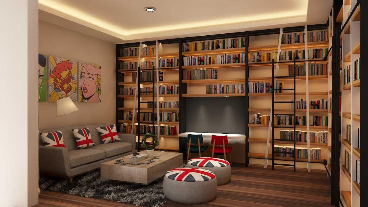 Foto inspirasi ide desain perpustakaan modern Livingroom oleh Tridivan Architama di Arsitag