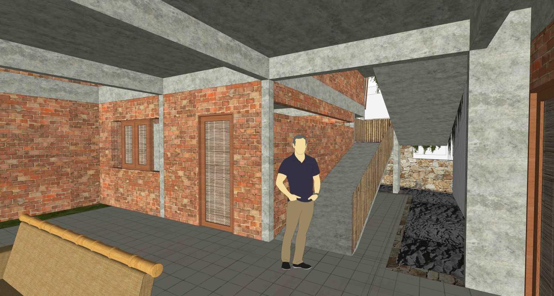 Foto inspirasi ide desain koridor dan lorong tropis Living room + foyer oleh RUPAKARA AKARSANA di Arsitag