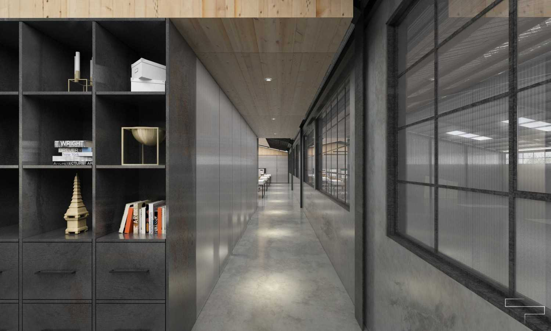Foto inspirasi ide desain kantor industrial Corridor oleh Sontani Partners di Arsitag