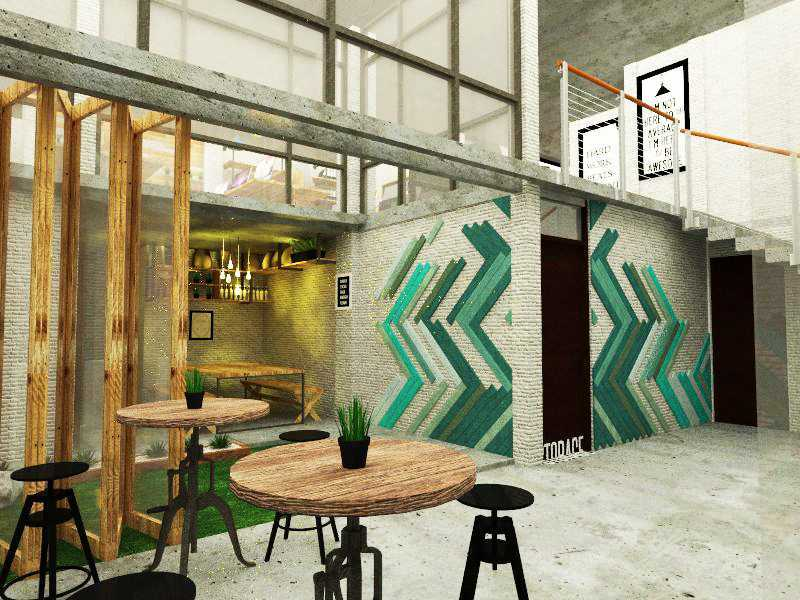 Foto inspirasi ide desain lobby industrial Wadezig-office-antapani-lobby oleh ANDREYAS di Arsitag