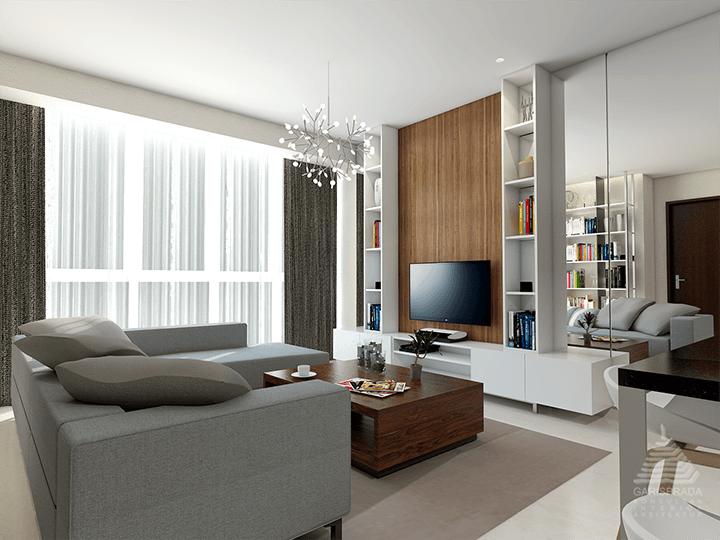 Foto inspirasi ide desain ruang keluarga skandinavia Living room oleh PT. GARISPRADA di Arsitag