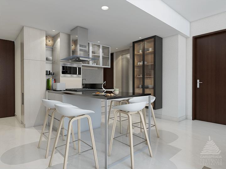 Foto inspirasi ide desain apartemen skandinavia Pantry and dining room oleh PT. GARISPRADA di Arsitag